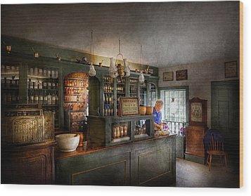 Pharmacy - Morning Preparations Wood Print by Mike Savad