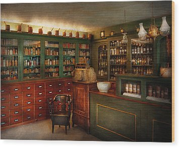 Pharmacy - Patent Medicine  Wood Print by Mike Savad
