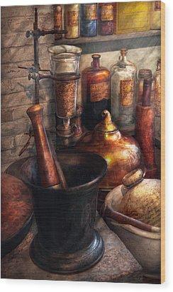 Pharmacy - Pestle - Pharmacology Wood Print by Mike Savad