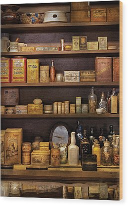 Pharmacy - Quick I Need A Miracle Cure Wood Print by Mike Savad