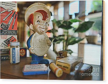 Pharmacy - Speedy Alka Seltzer - Vintage Advertising  Wood Print by Paul Ward
