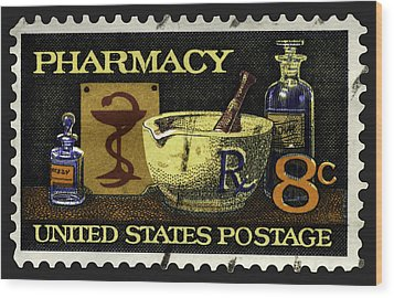 Pharmacy Stamp With Bowl Of Hygeia Wood Print
