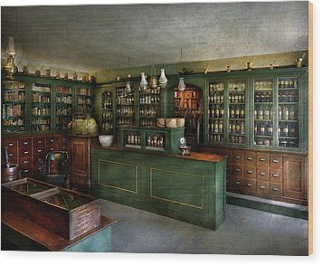 Pharmacy - The Chemist Shop  Wood Print by Mike Savad