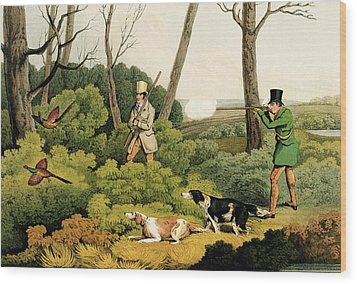 Pheasant Shootin Wood Print by Henry Thomas Alken