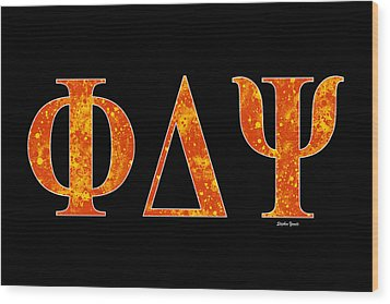 Wood Print featuring the digital art Phi Delta Psi - Black by Stephen Younts