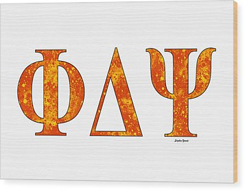 Wood Print featuring the digital art Phi Delta Psi - White by Stephen Younts