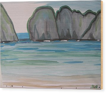 Wood Print featuring the painting Phi Phi Island by Vikram Singh
