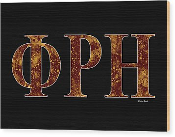 Wood Print featuring the digital art Phi Rho Eta - Black by Stephen Younts