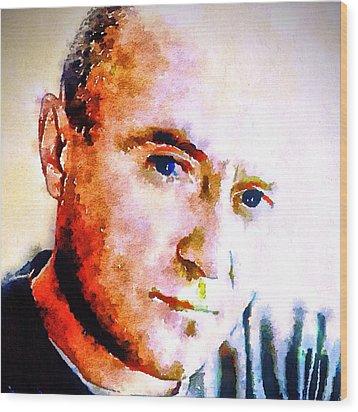 Phil Collins Digital Watercolor Portrait 2 Wood Print