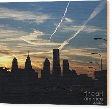 Philadelphia At Dusk Wood Print
