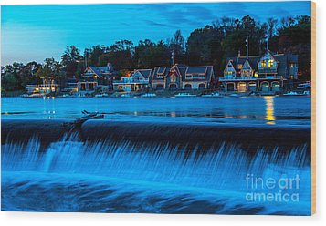 Philadelphia Boathouse Row At Sunset Wood Print by Gary Whitton