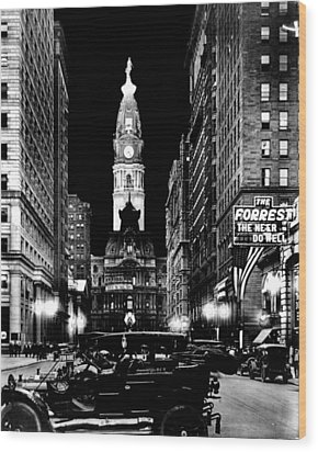 Philadelphia City Hall 1916 Wood Print by Benjamin Yeager