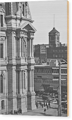 Philadelphia City Hall And Wanamaker Store C 1900 Vintage Photog Wood Print