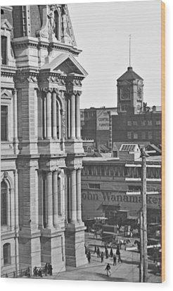 Philadelphia City Hall And Wanamaker Store C 1900 Vintage Photog Wood Print