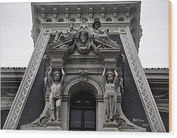 Philadelphia City Hall Dormer Window Wood Print by Bill Cannon