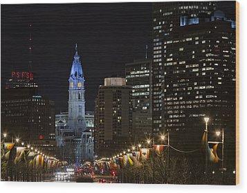 Philadelphia City Hall Wood Print by Eduard Moldoveanu