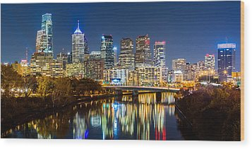 Philadelphia Cityscape Panorama By Night Wood Print