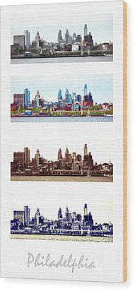 Philadelphia Four Seasons Wood Print by Olivier Le Queinec