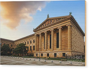 Philadelphia Museum Of Art Wood Print by Olivier Le Queinec