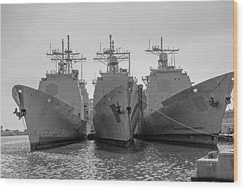 Philadelphia Navy Yard B - W  Wood Print