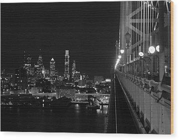 Philadelphia Night B/w Wood Print by Jennifer Ancker