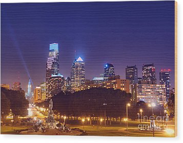 Philadelphia Nightscape Wood Print by Olivier Le Queinec