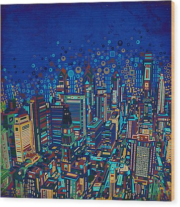 Philadelphia Panorama Pop Art 2 Wood Print