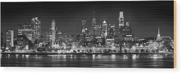 Philadelphia Philly Skyline At Night From East Black And White Bw Wood Print by Jon Holiday