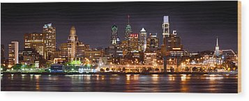 Philadelphia Philly Skyline At Night From East Color Wood Print by Jon Holiday