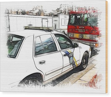 Philadelphia Police Car Wood Print by Fiona Messenger