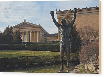 Philadelphia - Rocky  Wood Print by Cindy Manero