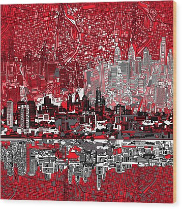 Philadelphia Skyline Abstract 4 Wood Print