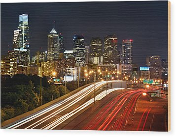 Philadelphia Skyline At Night In Color Car Light Trails Wood Print