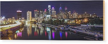 Philadelphia Skyline At Night Wood Print