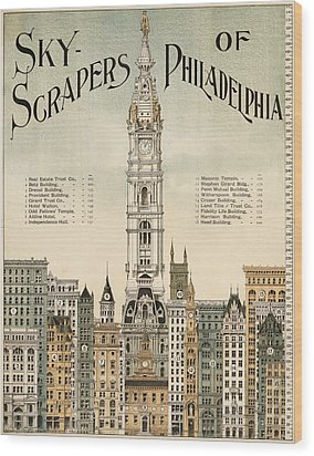 Philadelphia Skyscrapers Wood Print by Georgia Fowler