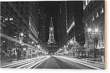 Philadephia City Hall -- Black And White Wood Print by Stephen Stookey