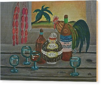 Philippine Still Life With Basi And Rooster Wood Print by Victoria Lakes