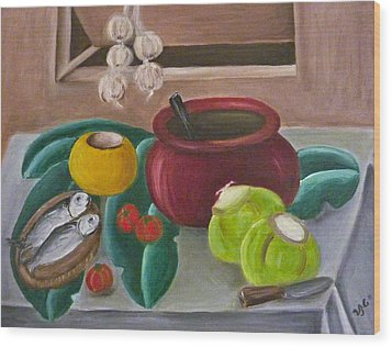 Philippine Still Life With Fish And Coconuts 2 Wood Print by Victoria Lakes