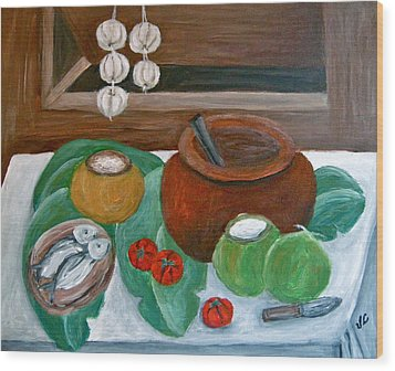 Philippine Still Life With Fish And Coconuts Wood Print by Victoria Lakes