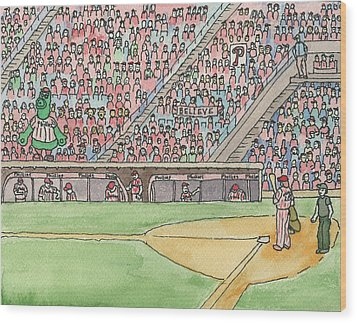 Phillies Game Wood Print by Cee Heard