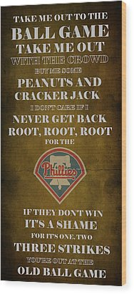 Phillies Peanuts And Cracker Jack  Wood Print by Movie Poster Prints