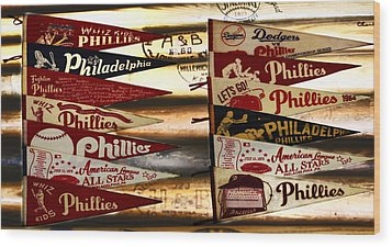 Phillies Pennants Wood Print by Bill Cannon