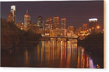 Philly Lights Reflected Wood Print by Michael Porchik