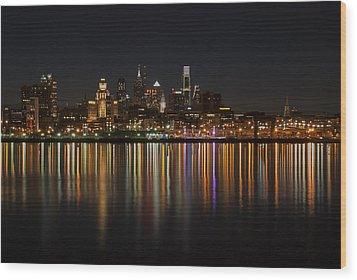 Philly Night Wood Print by Jennifer Ancker
