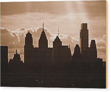 Philly Skyline Wood Print