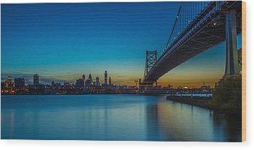 Philly Skyline Wood Print by David Hahn