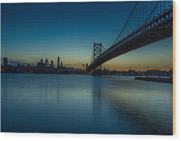 Philly Sunset Wood Print by David Hahn