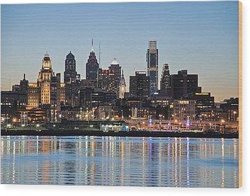 Philly Sunset Wood Print by Jennifer Ancker