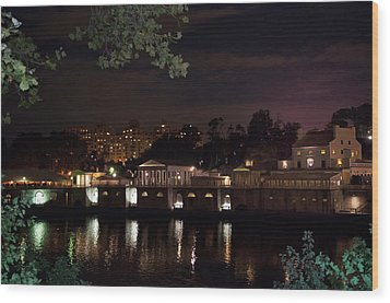 Philly Waterworks At Night Wood Print by Bill Cannon