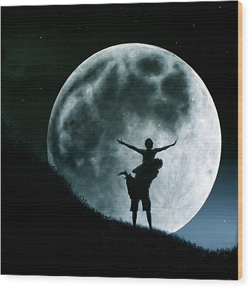 Wood Print featuring the painting Philos Under A Full Moon Rising by Ric Nagualero